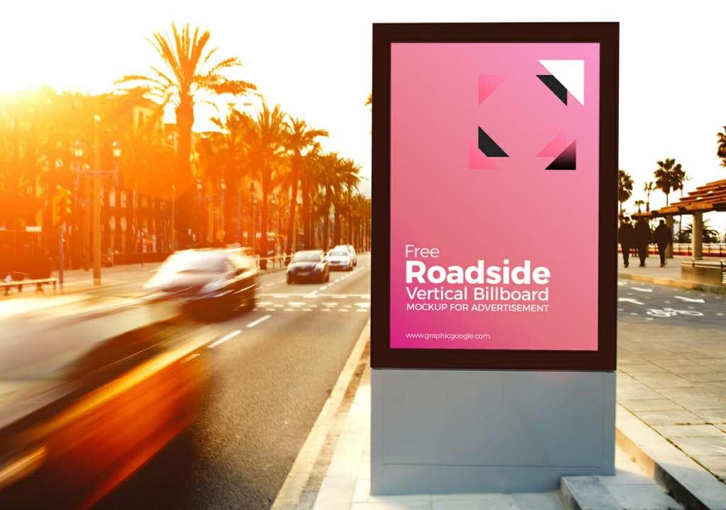 Roadside Vertical Billboard MockUp