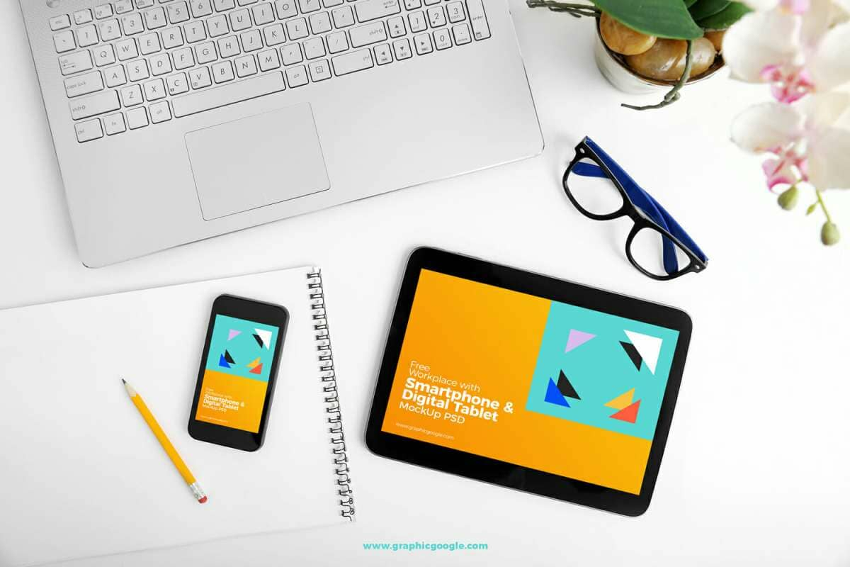Workplace With Smartphone & Digital Tablet MockUp