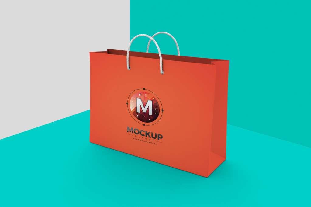 Shopping Bag Mockup on Texture Background