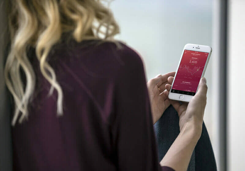 IPHONE Woman Holding iPhone Mockup