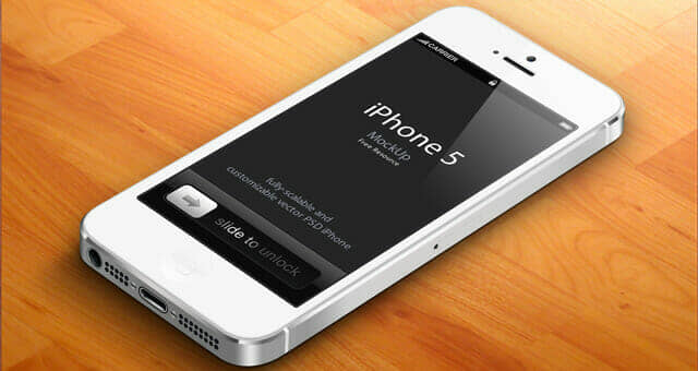 High Quality 3D iPhone 5 Psd Vector Mockup v2