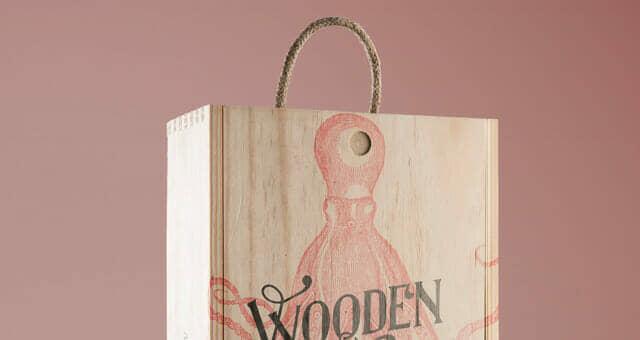 Wine Wood Box Mockup
