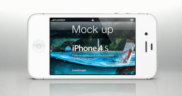 Clean iPhone 4s Psd Landscape Mockup