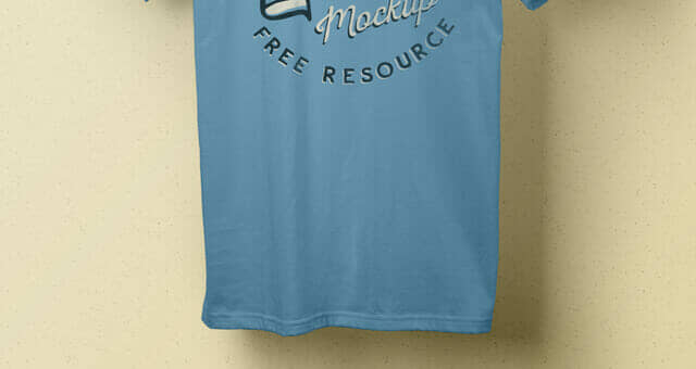 Realistic T-shirt Mockup With Wooden Hanger
