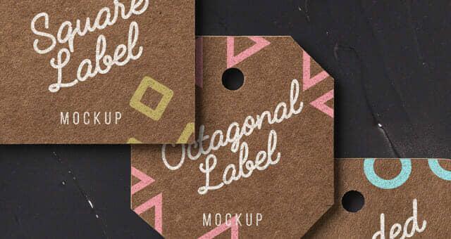 Kraft Label Card Tags Mockup