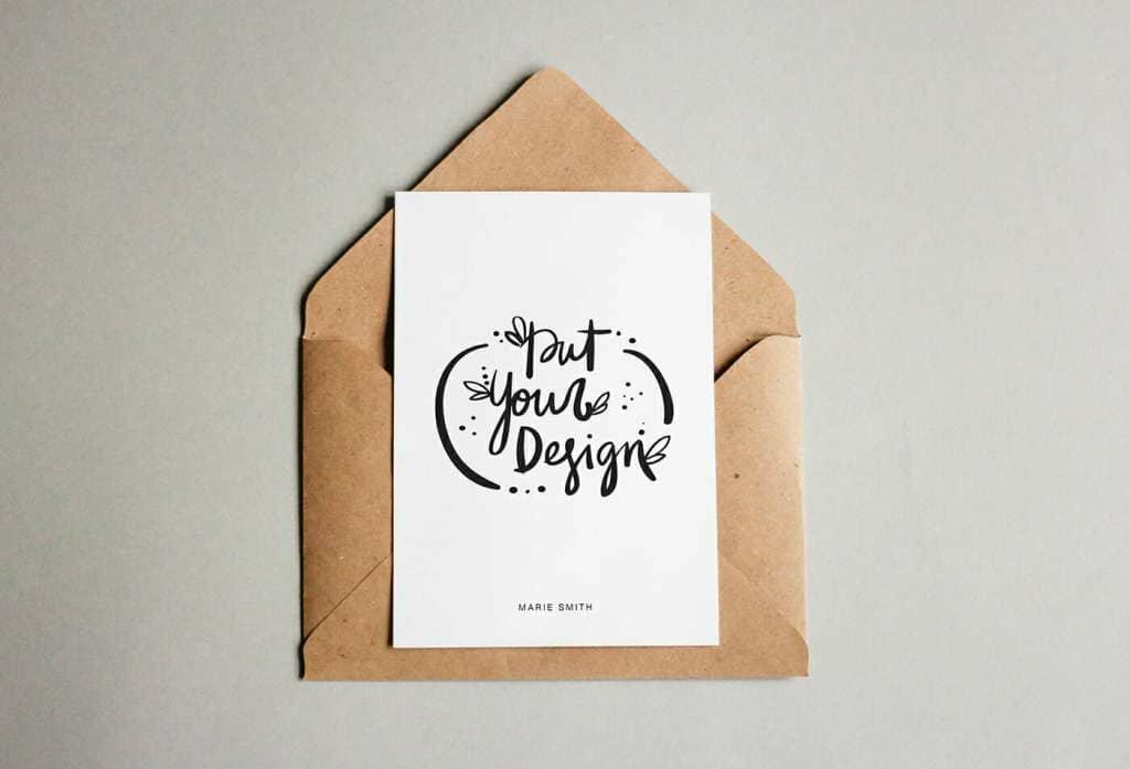 2 Postcard and Craft Envelope Mockup