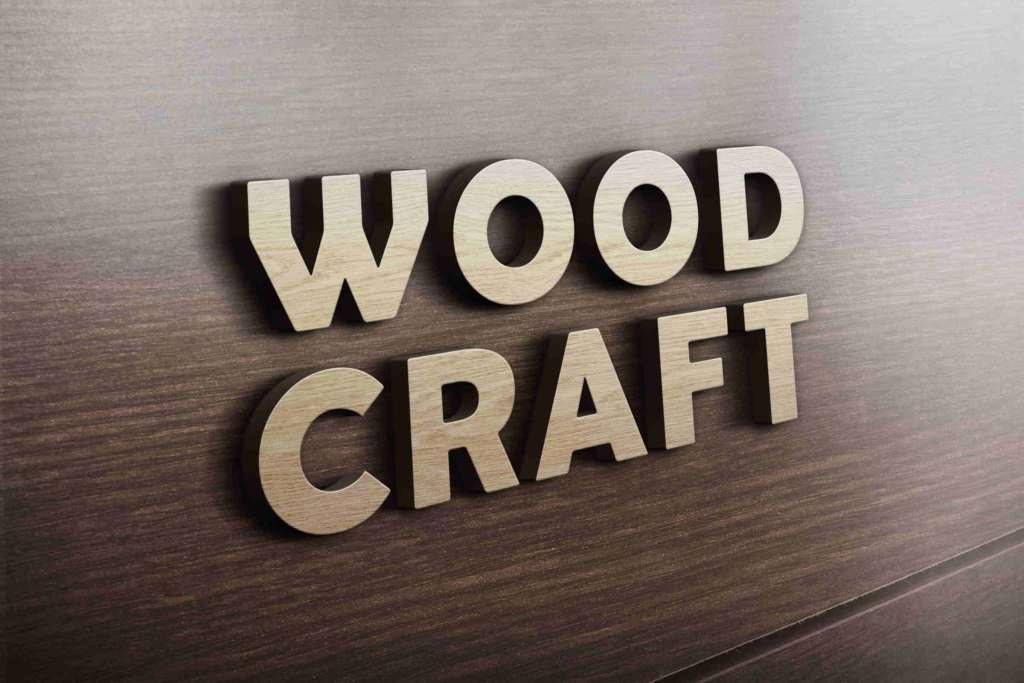 Realistic 3D Wooden Logo Mockup