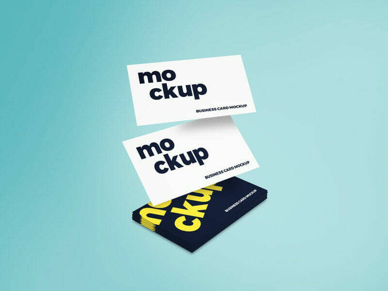 Flying Business Card Free Mockup