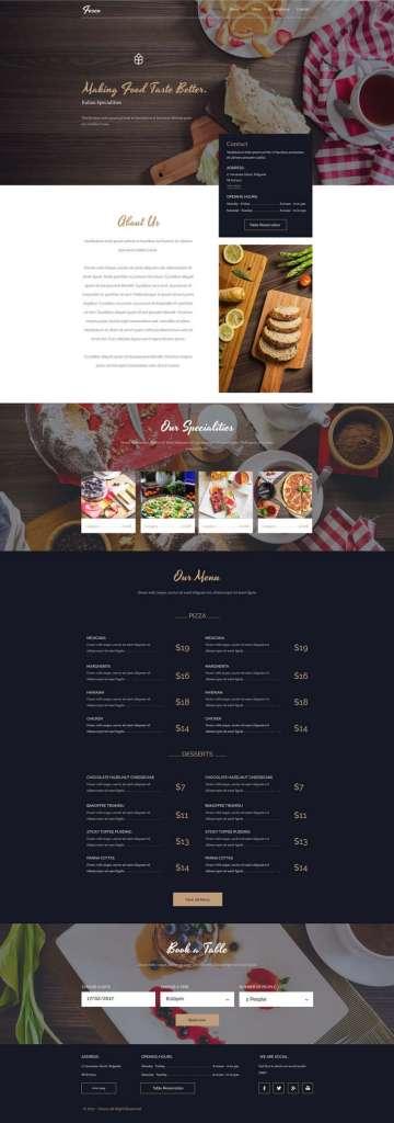 Fesco - Restaurant Website Mockup