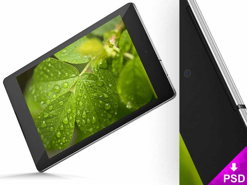 Black Nexus 9 with Leaves Wallpaper Mockup