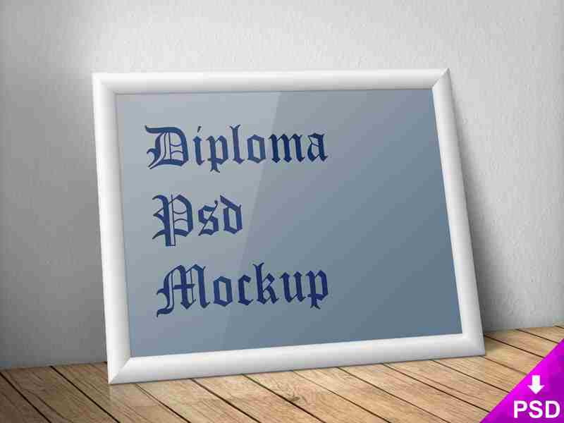 White Diploma Frame on a Wooden Table Mockup