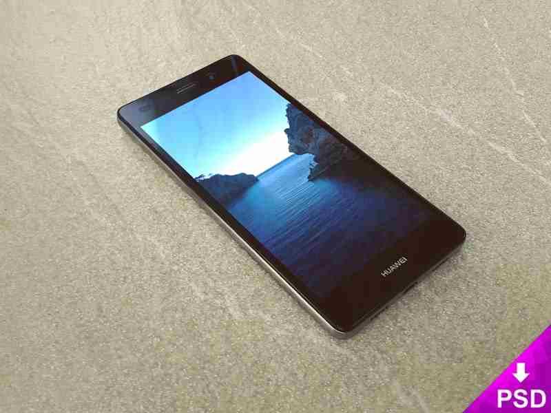 Black Huawei P8 Lite Mockup