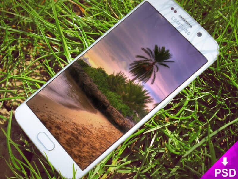 White Samsung S6 Edge Grass Mockup