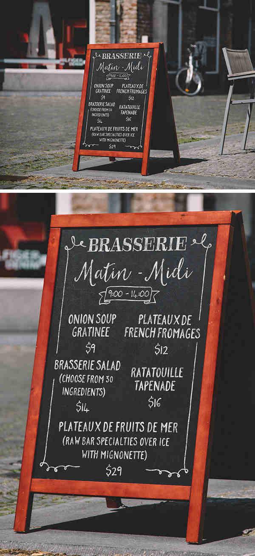 Vintage A-Frame Chalkboard Menu Mockup