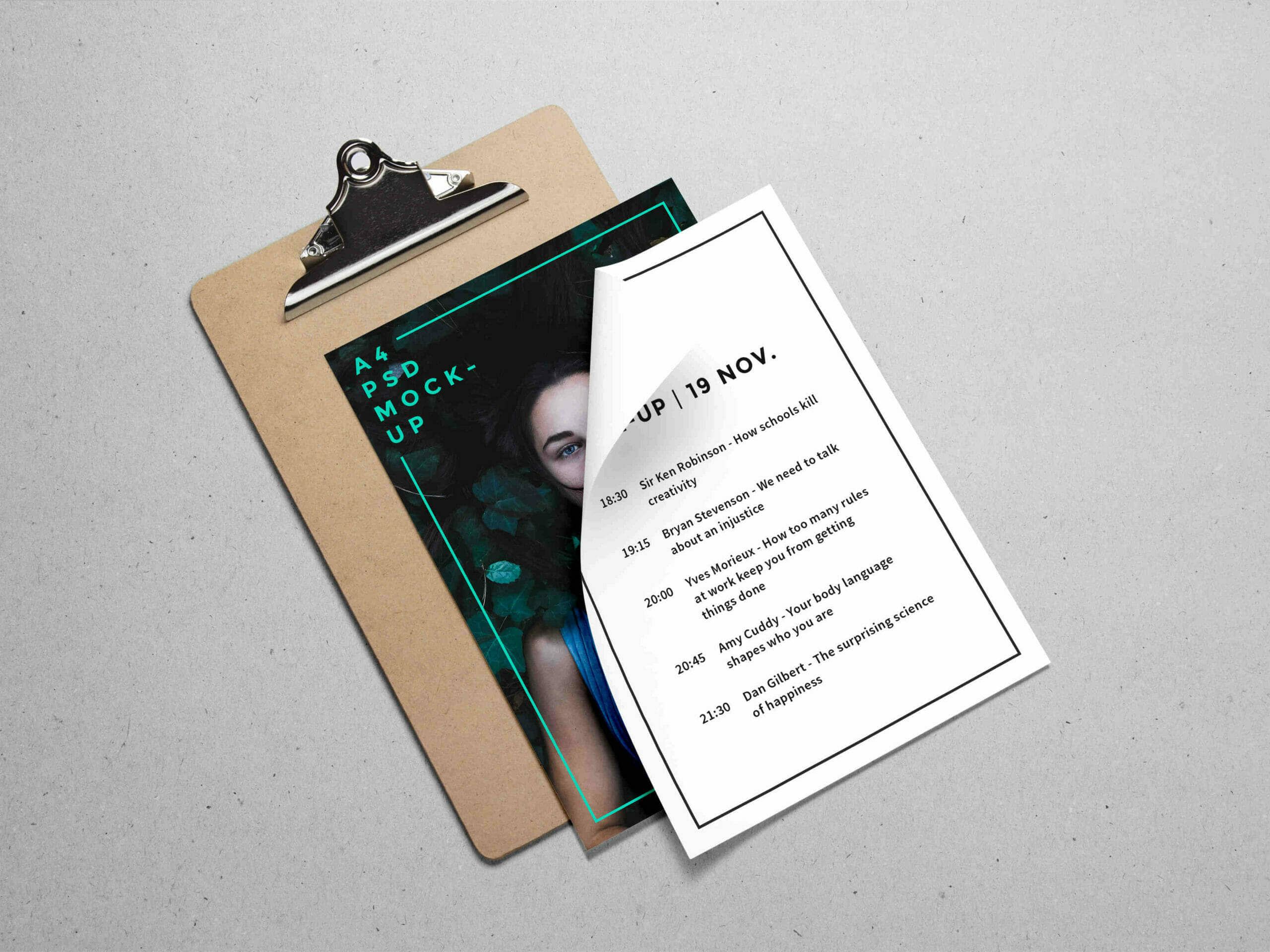 A4 Paper on Clipboard Mockup