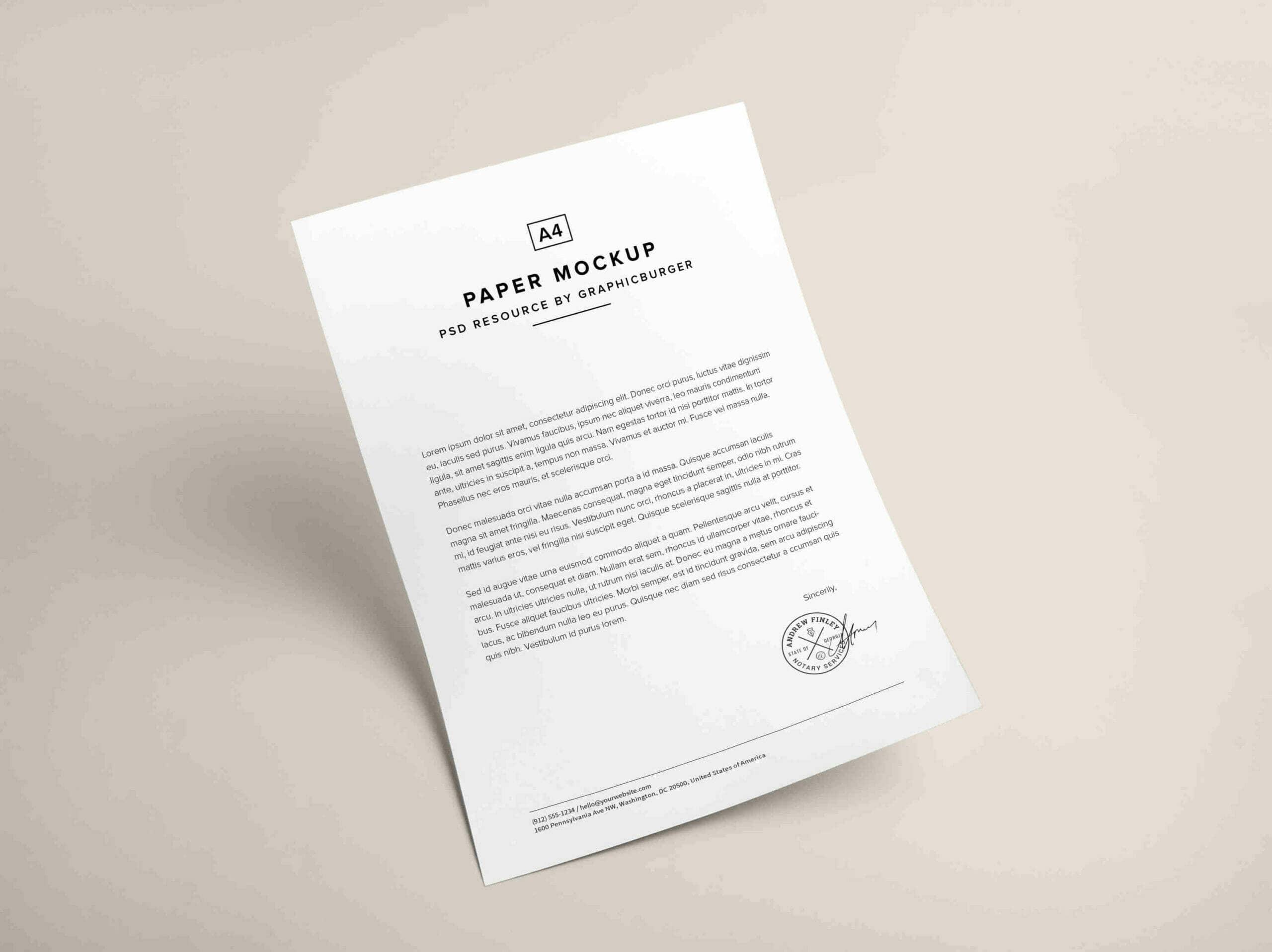 White A4 Paper Mockup