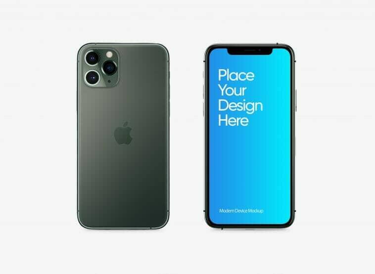 iPhone 11 Pro with White Background Mockup