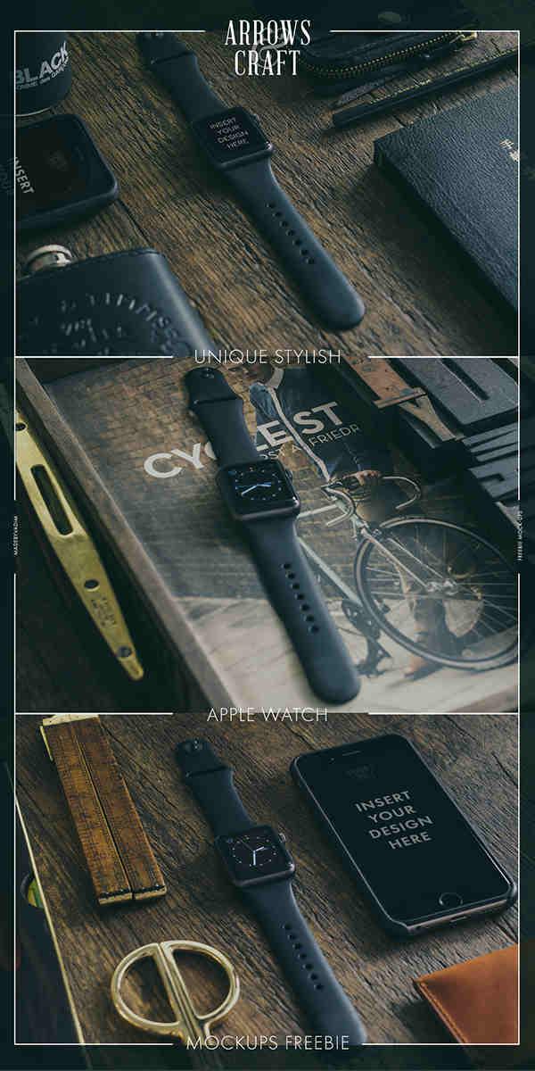 Black Apple Watch Sport Mockup