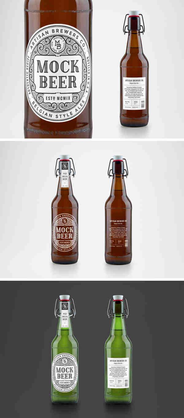Belgian Style Beer Bottle Mockup