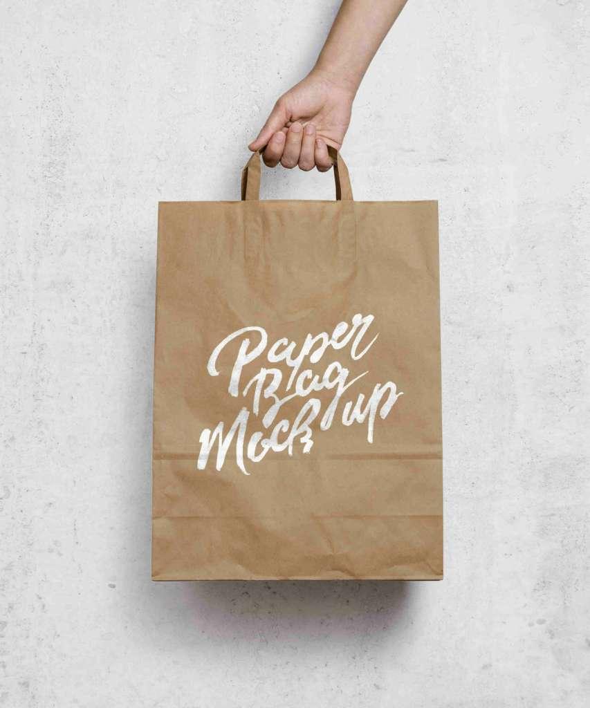 Brown Paper Shopping Bag Mockup