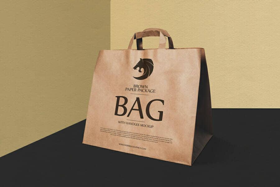 Brown Paper Package Bag With Handles Mockup