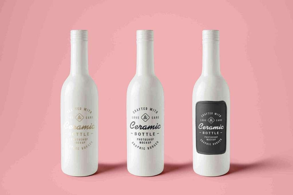 Stylish Ceramic Bottles Mockup