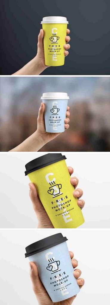 Stylish Coffee Cup In Hand Mockup