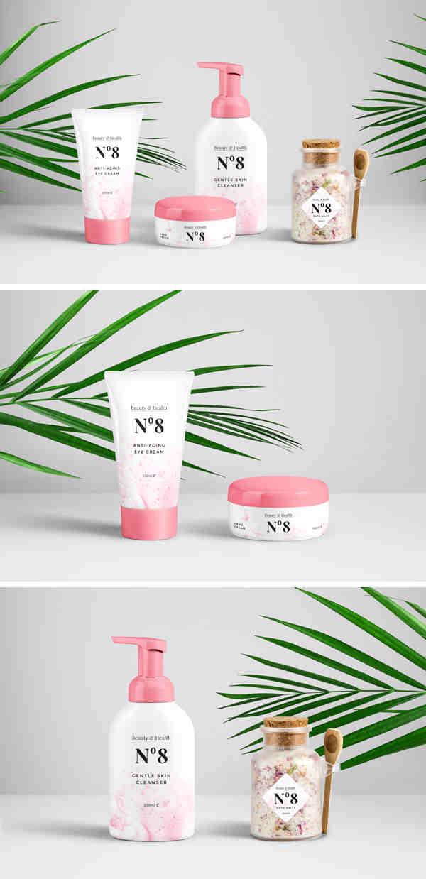 Cosmetic Packaging Items Mockup
