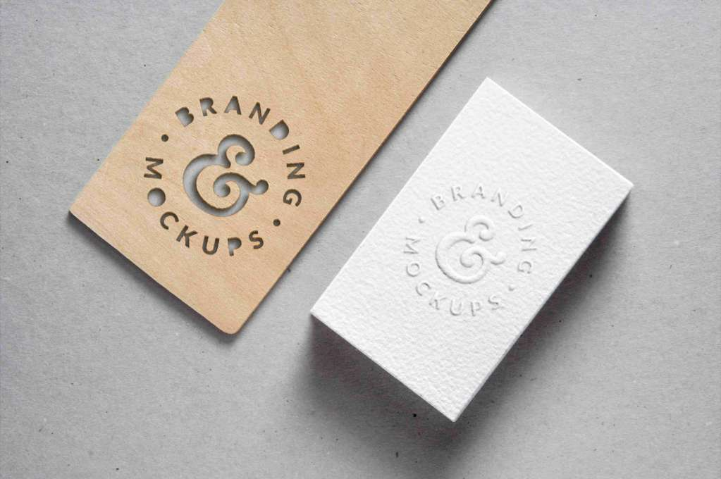 Cutout Wood & Embossed B-Card Mockup