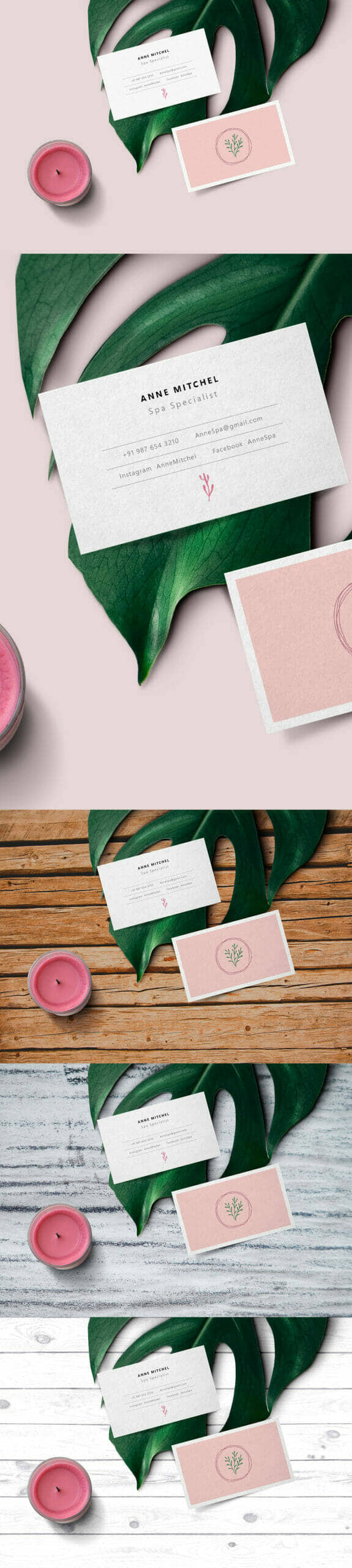 Elegant Feminine Business Card Mockup