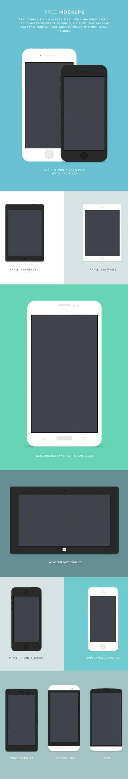 Flat Mobile Device Mockups