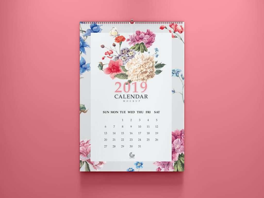 2019 Calendar Mockup PSD For Presentation
