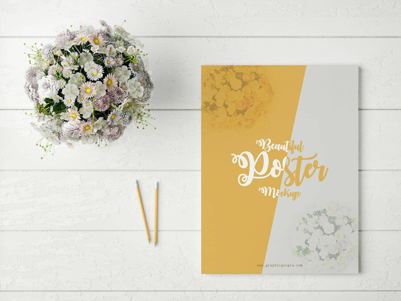 Beautiful Poster MockUp With Glamour Flowers