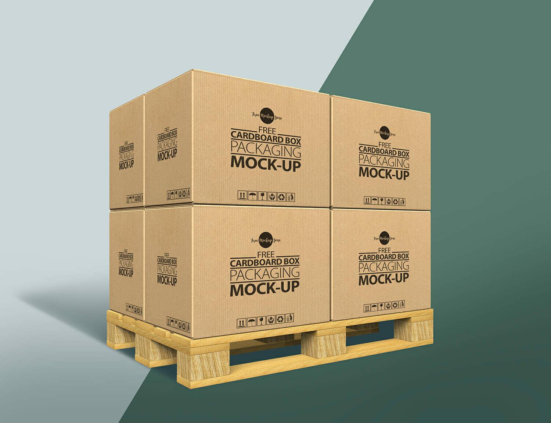 Cardboard Box Stack Mockup