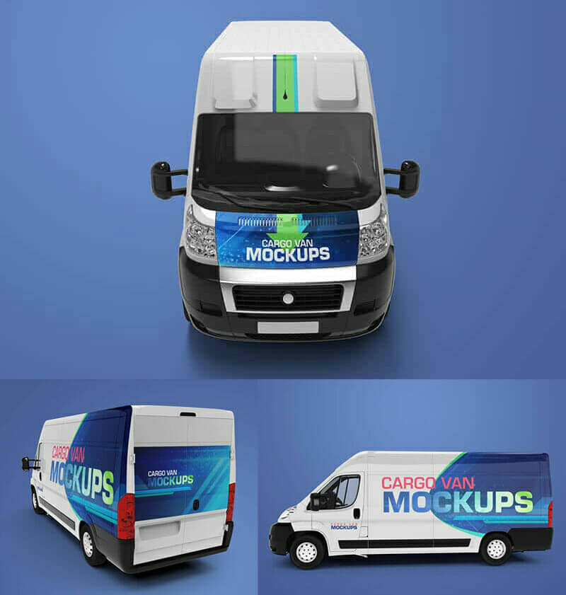Cargo Van Mockups with 3 Different Angles