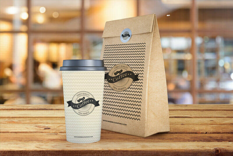 Coffee Cup With Paper Bag Packaging Mockup