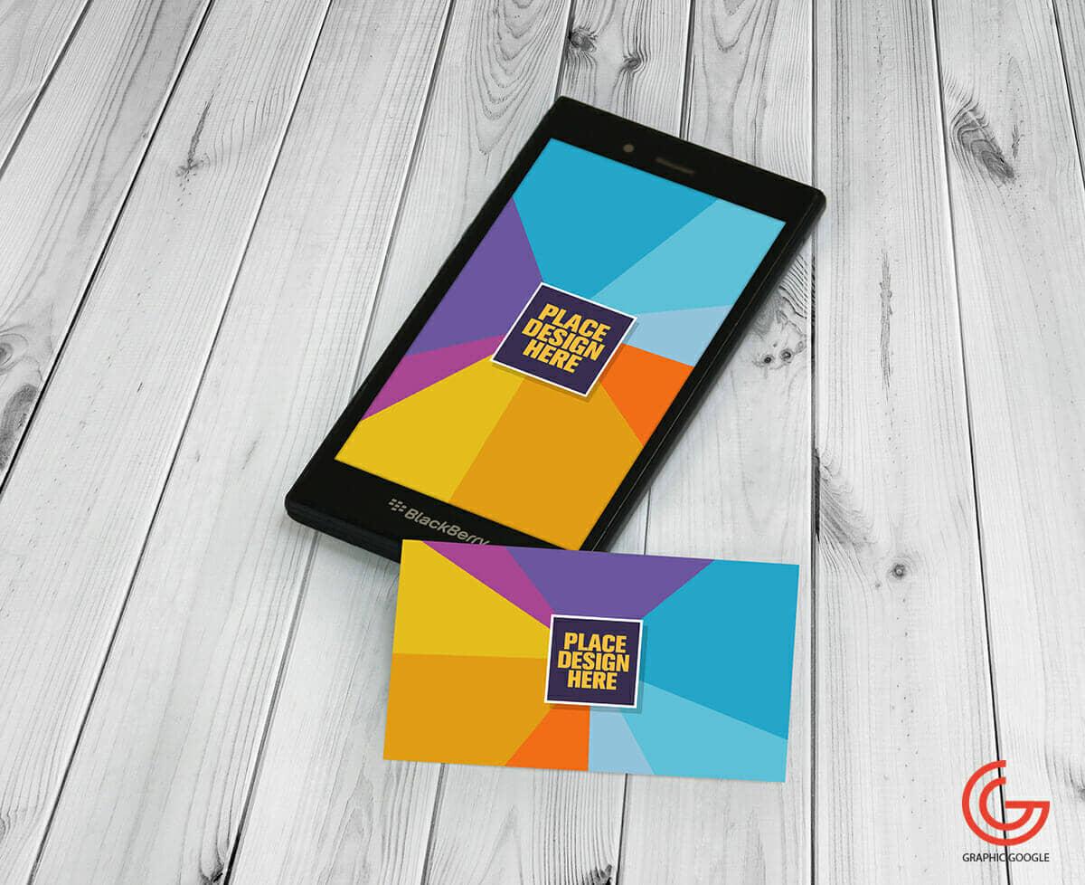 Elegant BlackBerry & Business Card Mockup