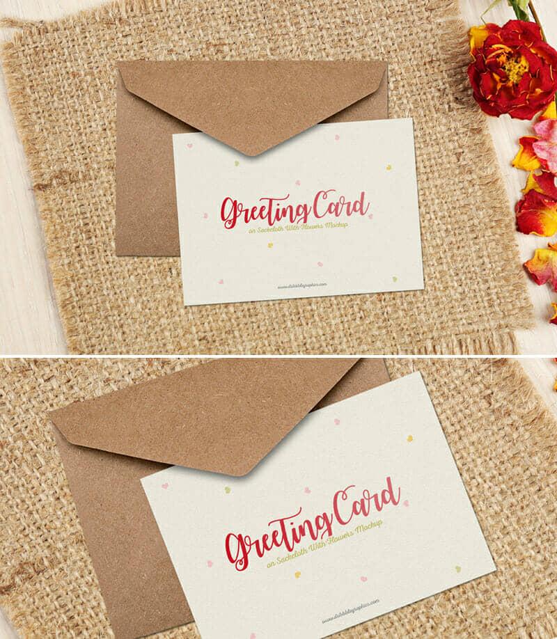 Free Floral Greeting Card on Sackcloth Mockup