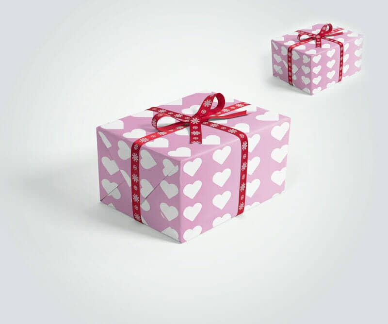 Gift Packaging Box with Ribbons Mockup