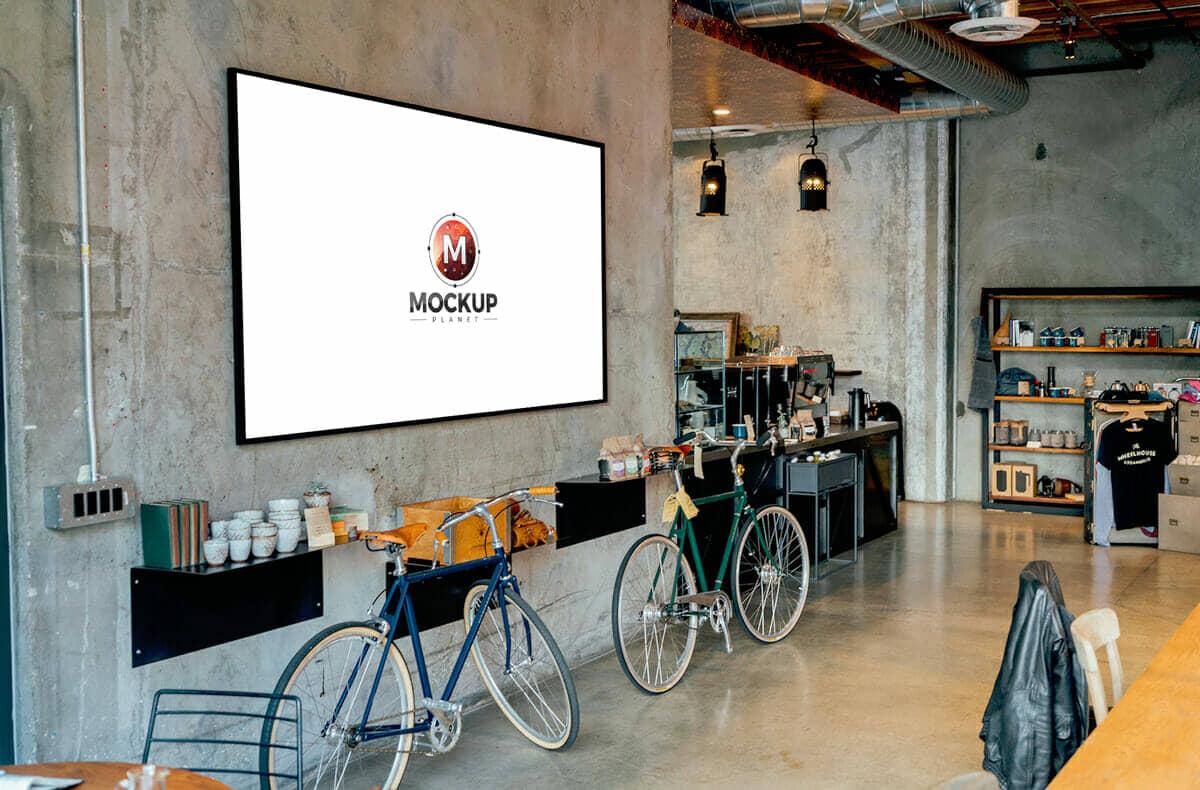 Free Inside Restaurant Menu Board Mockup