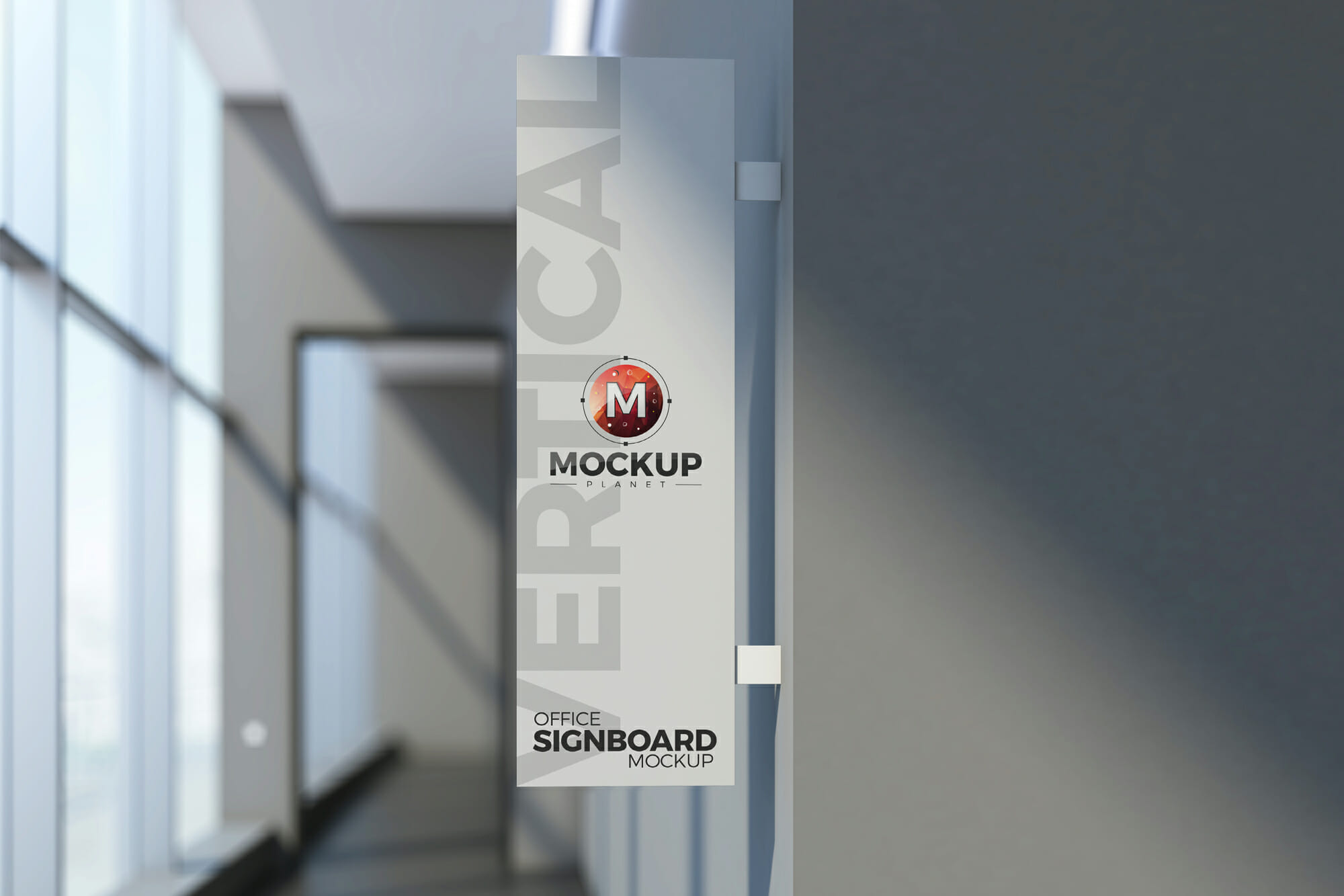 Free Office Vertical Signboard Mockup