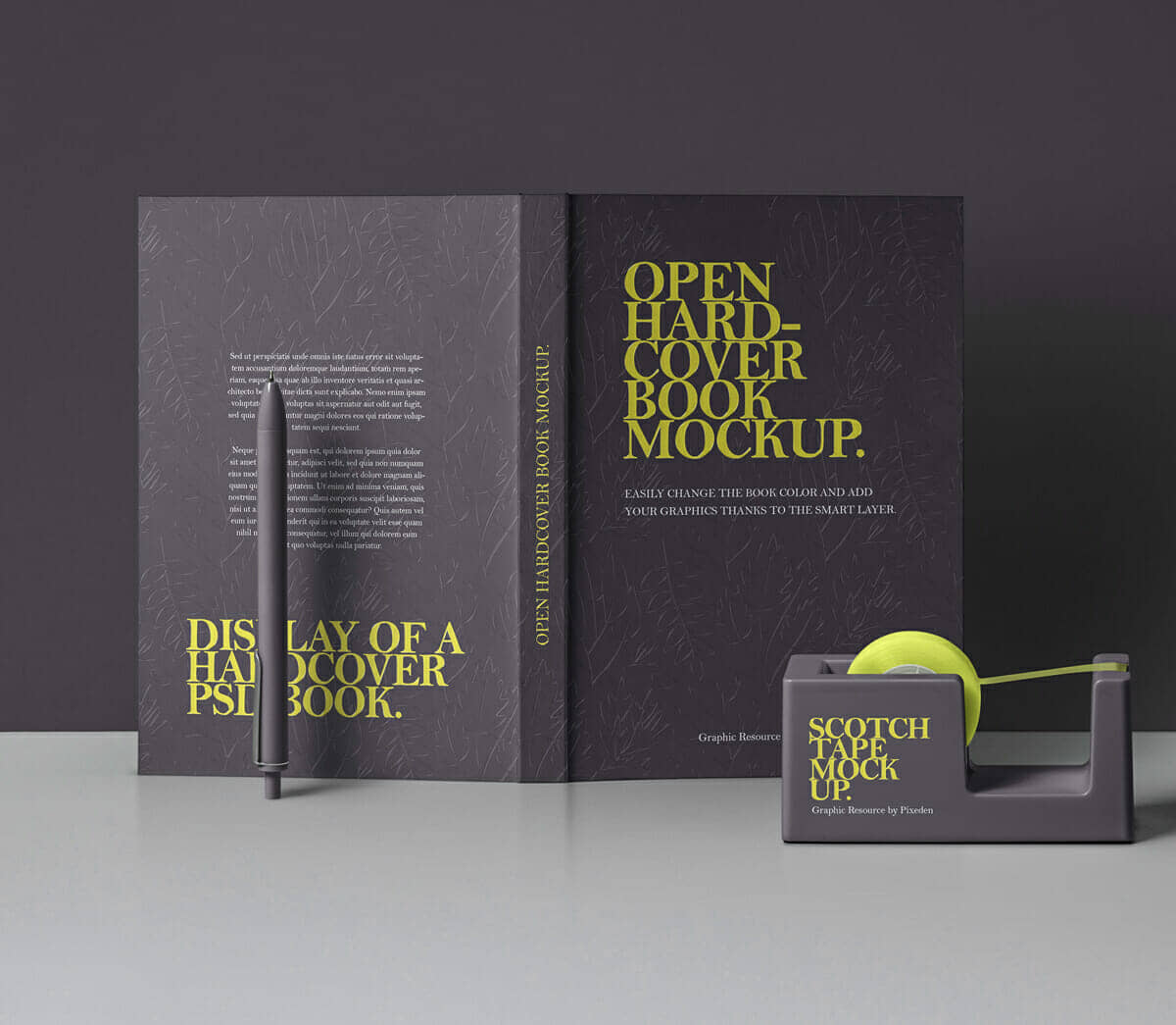 Open Hardcover Book With Scotch Tape Mockup
