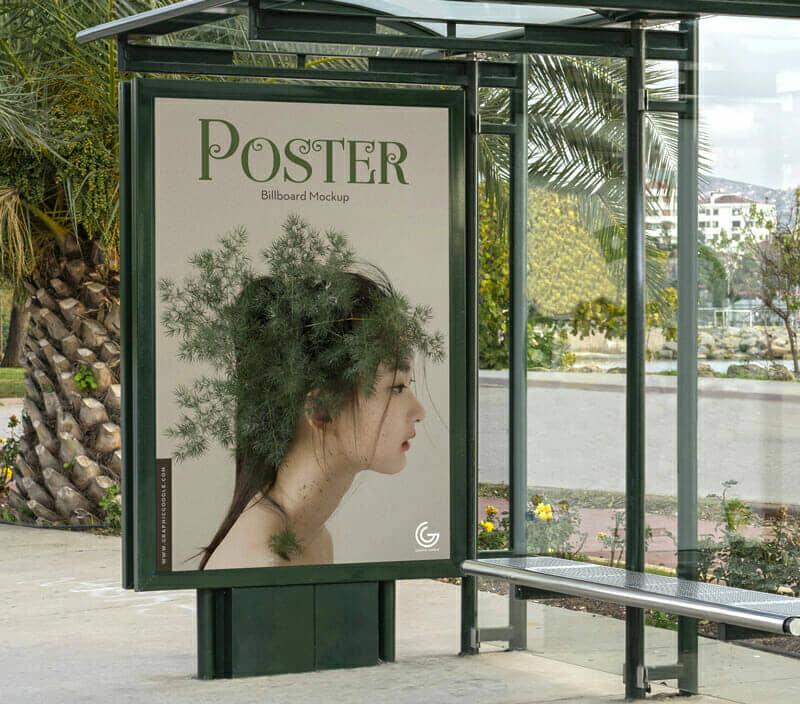 Branding Outdoor Bus Stop Billboard Mockup