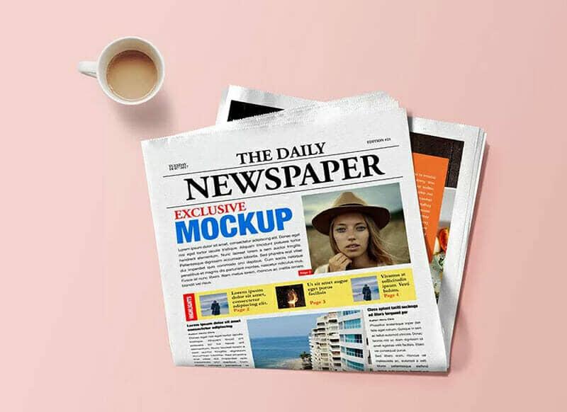 Newspaper With Coffee Flatlay Mockup