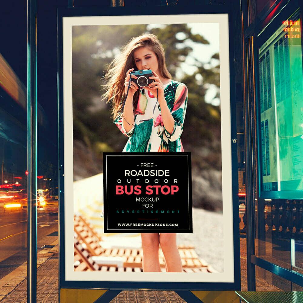 Outdoor Bus Stop Billboard MockUp