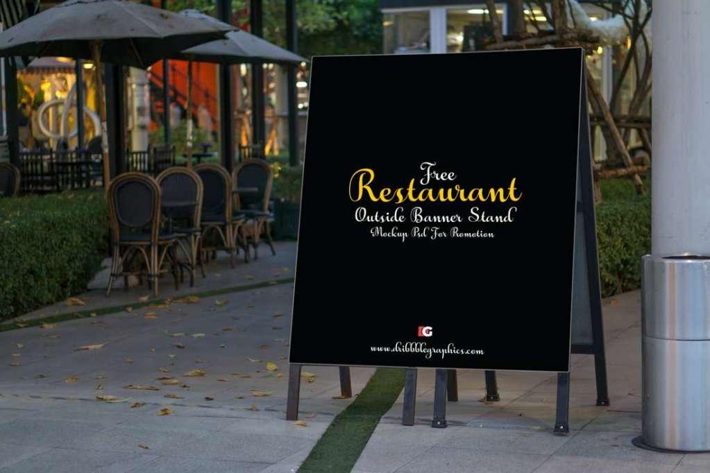 Outdoor Restaurant Banner Stand Mockup