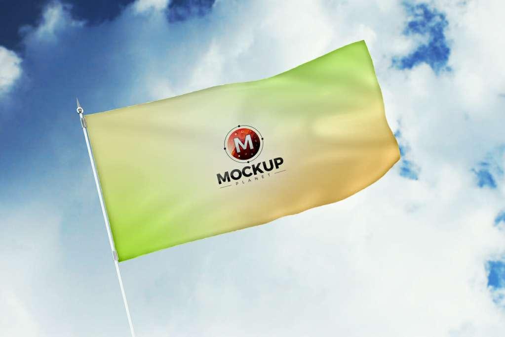 Free Rising in Air Flag Mockup