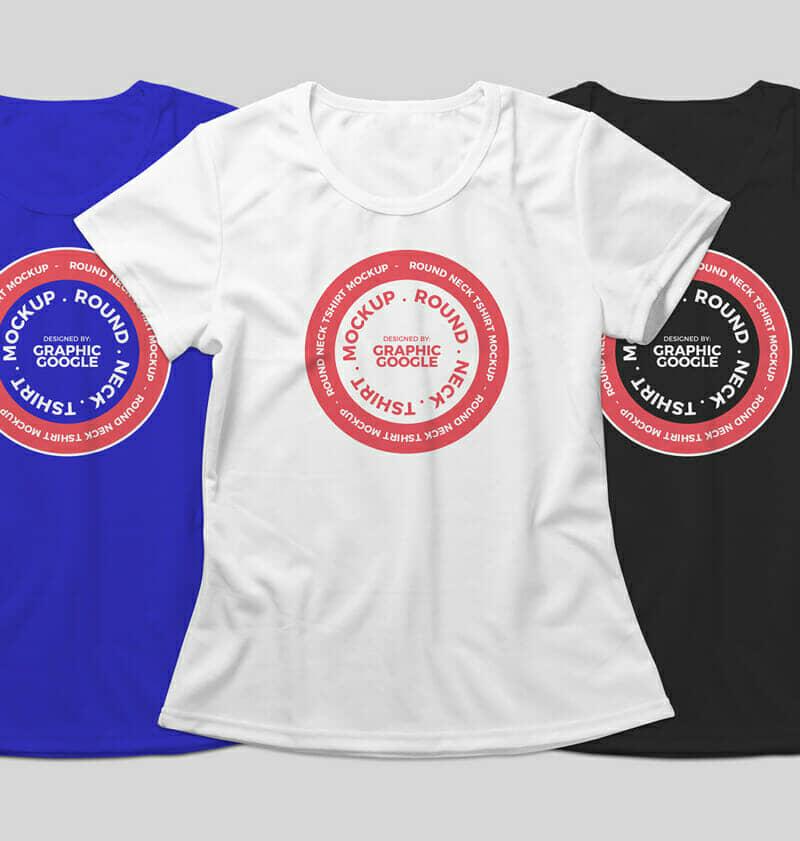 Round Neck T-Shirt Mockup For Apparel Branding