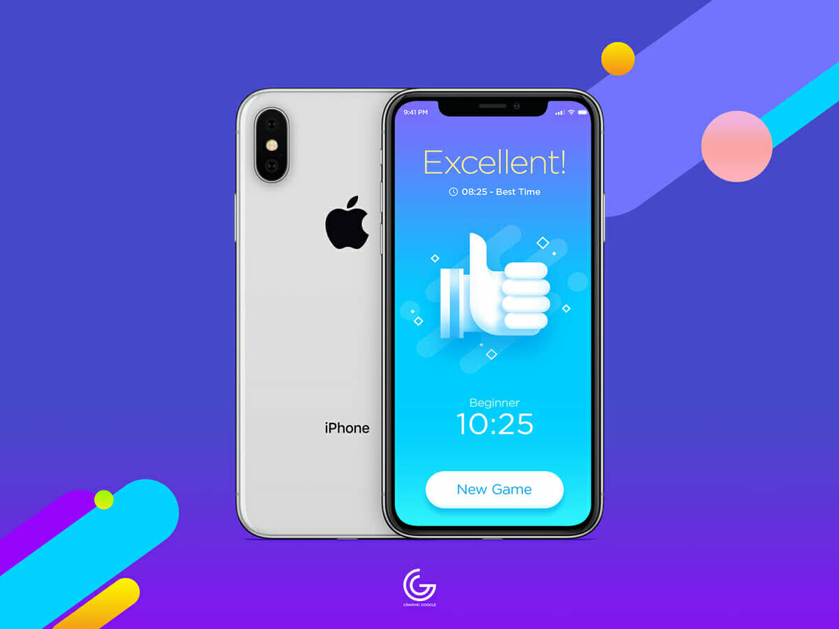 Free Silver iPhone X Mockup For Screen Presentation