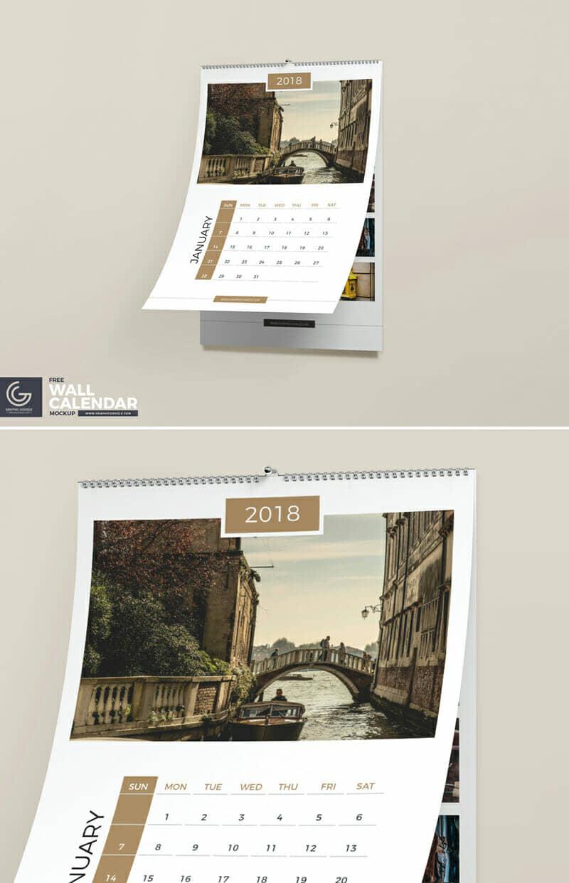 Free Wall Calendar PSD Mockup Template